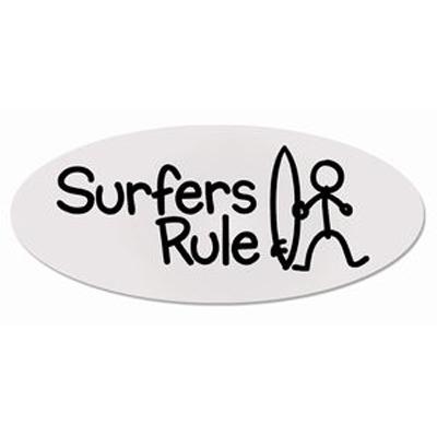 Surfers rule transparent oval sticker